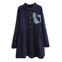 Polka Dot Cat Patchwork Long Sleeve Loose Shirt Dress