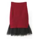 Gauze Patchwork High Waist Bodycon Midi Knit Skirt