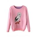 Pink Round Neck Cartoon Owl Patterned Thicken Sweater