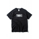 Letter Print Short Sleeve Round Neck Concise Tee