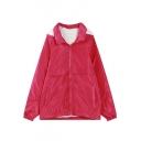 Hooded Zipper Wool Lining Thicken Plain Elastic Hem Coat