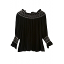 Boat Neck Embroidery Balloon Long Sleeve Loose Chiffon Blouse