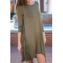 Plain 3/4 Length Sleeve Tassel Detail A-Line Midi Dress