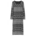 Round Neck Long Sleeve Geometric Print Split Hem Maxi Shift Dress