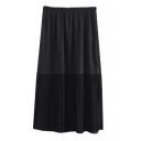 Elastic Waist Pleated Patchwork Plain Maxi Skirt