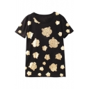 Round Neck Repeated Gilded Tiger Print Short Sleeve Tee