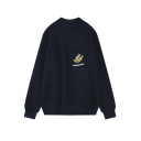 Raglan Sleeve Cartoon Print Single Pocket Loose Fleece Sweatshirt