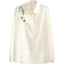 White Lapel Swallows Embroidery Button Down Loose Shirt