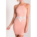 Halter Lace Patchwork Zip Back Color Block Bodycon Dress