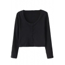 Scoop Neck Stretch Single Breasted Long Sleeve Cropped Tee