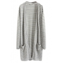 Stripes Double Pockets Collarless Long Sleeve Longline Coat