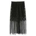 Plain Elastic Waist Whorl Gauze Tassel Hem Maxi Black Skirt