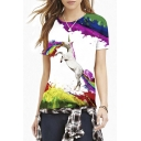 Color Block Graffiti Unicorn Print Short Sleeve Tee