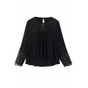 Plain Round Neck Lace Patchwork Long Sleeve Loose Blouse