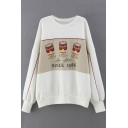 Round Neck Soda Bottles Print Batwing Sleeve Tunic Sweatshirt