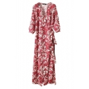 Red 3/4 Length Sleeve Floral Print Belt Waist Maxi Dress