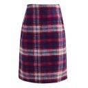 Classical Plaid Zip Side High Waist Tube Midi Tweed Skirt