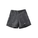 Plain Elastic Waist Metal Detail Loose Shorts