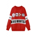 Color Block Letter & Cartoon Print Loose Round Neck Sweatshirt