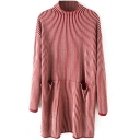Double Pockets Vertical Stripes High Neck Long Red Sweater