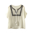Embroidery Tie Neck Batwing Short Sleeve Loose Blouse