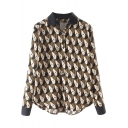 Lapel Repeated Face Print Button Down Churved Hem Shirt