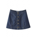 A-Line Button Front Plain Denim Mini Skirt