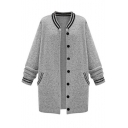 Stripe Trims Button Down Double Pockets Longline Cardigan