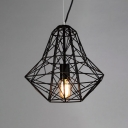 LOFT Medium Cage LED Pendant Light with Reel Iorn in Black