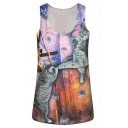 Fighting Cat and Mouse Print Scoop Neck Slim Tank