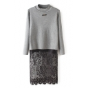High Neck Long Sleeve Lace Patchwork Color Block Sweater