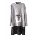 High Neck Girl Print Long Sleeve Pleated Patchwork Sweater