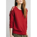Crisscross Detail Plain Round Neck 3/4 Length Sleeve Sweatshirt