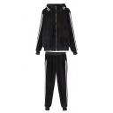 Black Zipper Hooded Stripe Trims Velvet Top with Loose Pants