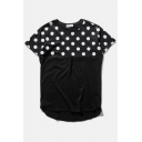 Polka Dot Patchwork Short Sleeve Dip Curved Hem Tee
