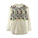 Stand Up Neck Floral Embroidery Split Side Curved Hem Shirt
