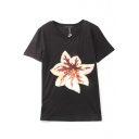 Floral Sequined Embroidery Short Sleeve Round Neck Tee