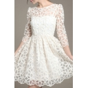 Round Neck 3/4 Length Sleeve Floral Lace Plain Sheer Dress