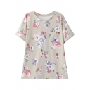 Floral Print Gray Round Neck Short Sleeve Single Pocket Tee