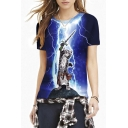 Lightening Cat Warrior Print Blue Short Sleeve Slim Tee