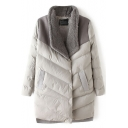 Lapel Color Block Single Breasted Long Sleeve Padded Coat