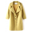 Single Breasted Notched Lapel Plain Tweed Thicken Coat
