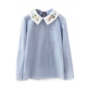 Floral Embroidery Collar Single Pocket Tie Back Stripes Blouse