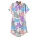 Lapel Color Block Cat Print Short Sleeve Dip Hem Tunic Shirt
