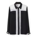 Monochrome Color Block Button Down Chiffon Shirt
