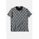 Black Repeated Star Print Short Sleeve Loose Tee