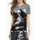 Black Round Neck Funny Alien Painting Print Tee