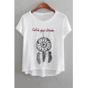 Plain Embroidery Round Neck Graphic Tee