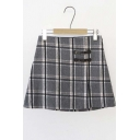 Vintage Plaid Tweed Belt-Breast Zipper Detailed Mini Skirt