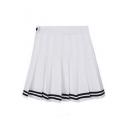 Short Pleated Striped Hem Tennis Skirt